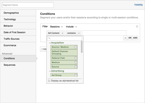 adding advanced conditions filters