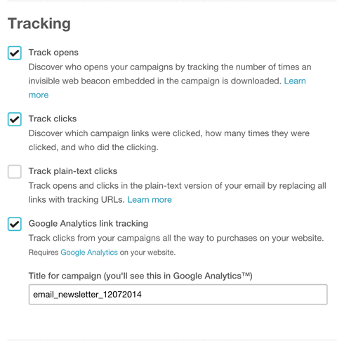 add utm parameter tracking in mailchimp