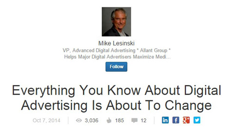 mike lesisnki linkedin content article
