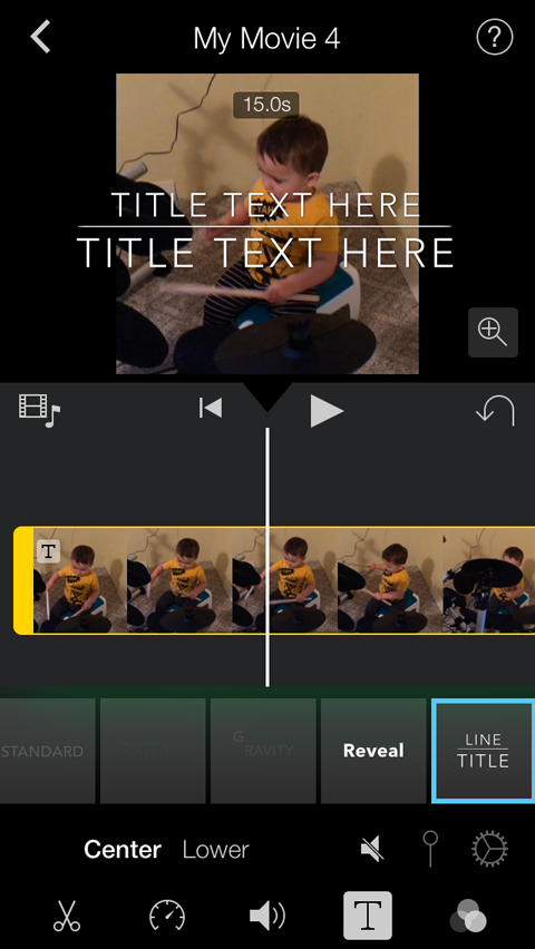 title style in imovie
