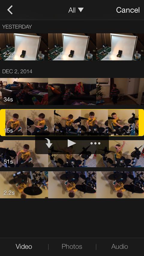 selecione media no iMovie