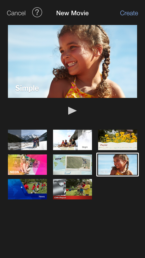 theme gallery in imovie