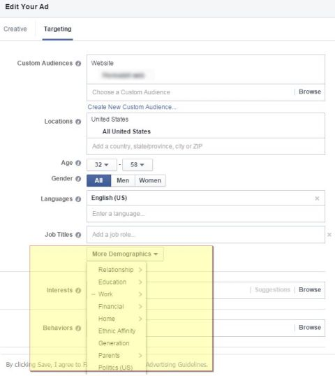 facebook ad target options