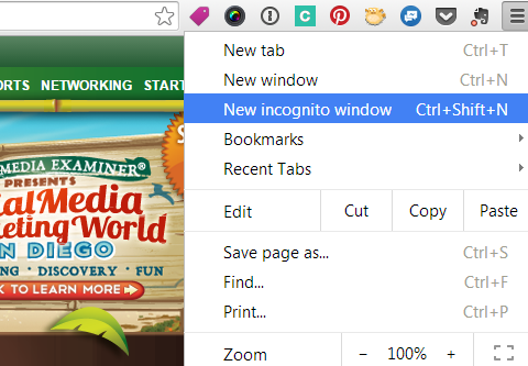 Incognito window lets you see your site and profiles as others do.