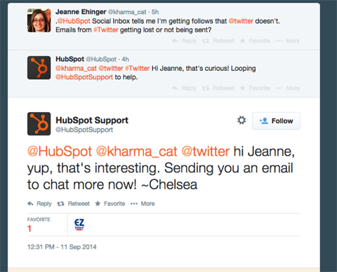 hubspot conversation on twitter