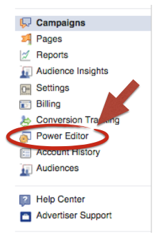 power editor menu link