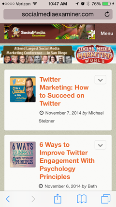 social media examiner blog on mobile