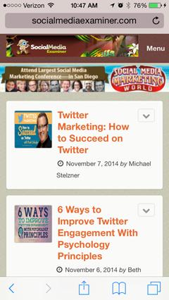 social media examiner blog on mobile