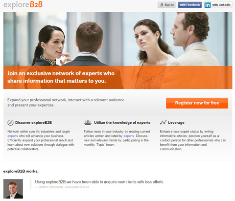 exploreb2b website