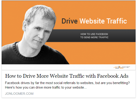 Jon Loomer posts Facebook ads after he shares posts organically to drive the most visitors to his website.