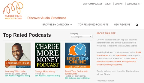 MarketingPodcasts.com is the first and only search engine for podcasts.