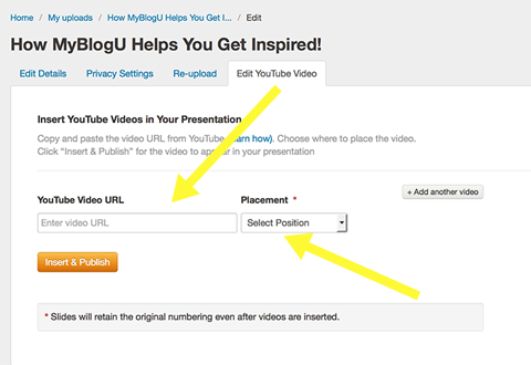 adding youtube in slideshare