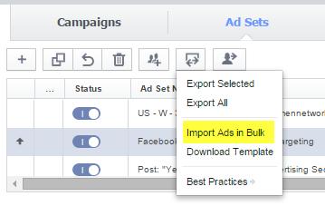 bulk upload for ads in power editor