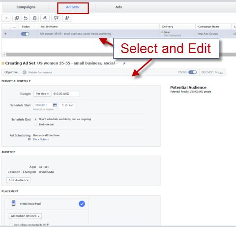 edit ad set in power editor