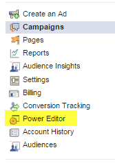 accessing ads in power editor