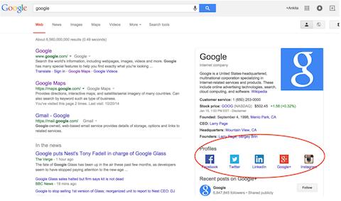 google social profiles
