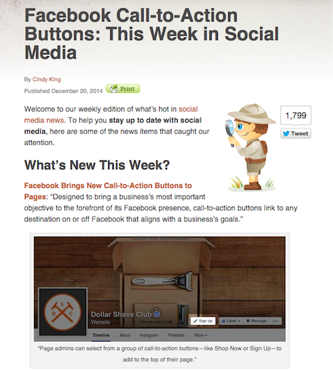 social media examiner weekly news article