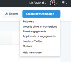twitter ad campaign options