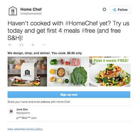 home chef lead generation card tweet