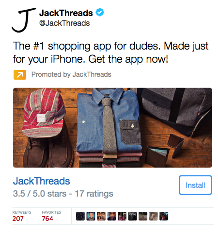 jack threads app install card tweet