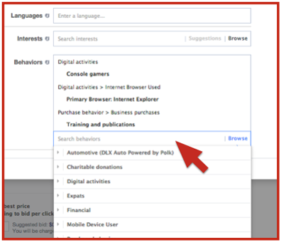 existing facebook ad behavior targeting