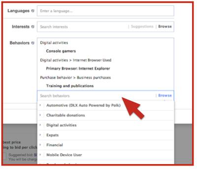 existing facebook ad behavior targeting