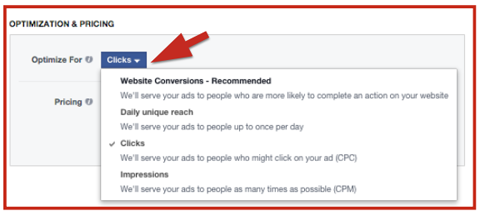 facebook ad bid options