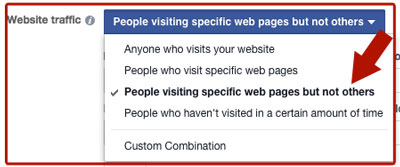 facebook ad website traffic targeting options