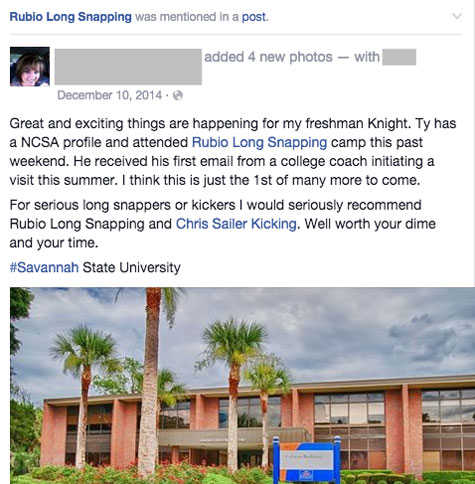 rubio long snapping social proof facebook mention
