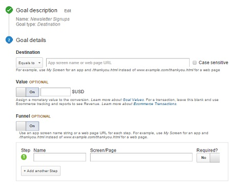 assigning goals for google analytics campaign
