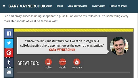 Gary Vanderchuk quote on Snapchat importance
