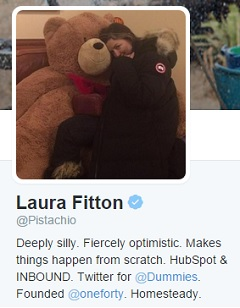 Laura Fitton's Twitter profile.