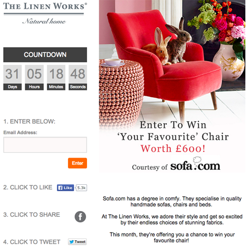 linen works facebook contest