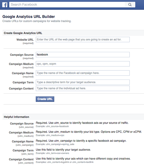 facebook google url builder