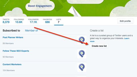 create new list in twitter menu
