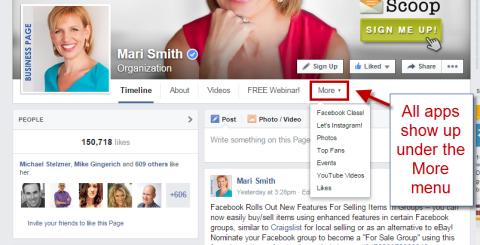 facebook apps under more menu