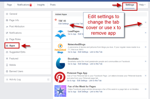 editing installed facebook apps