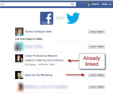 linking facebook and twitter