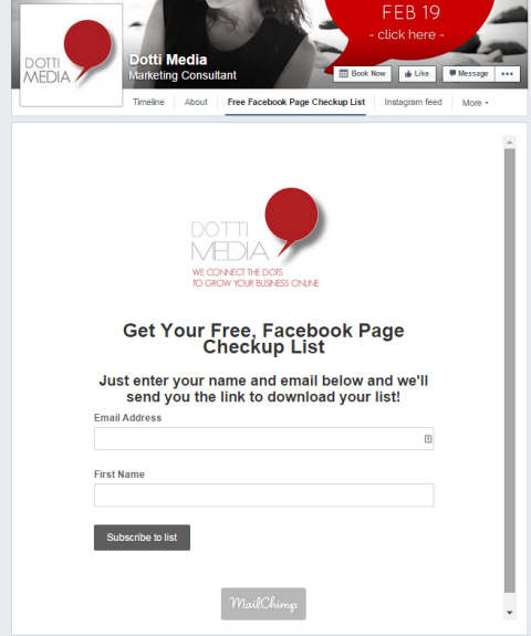 mailchimp facebook form