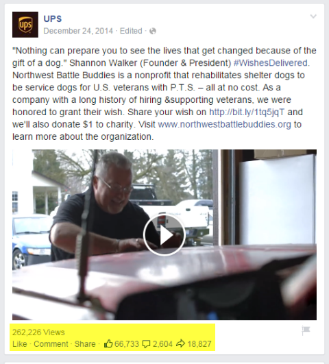 ups video post on facebook