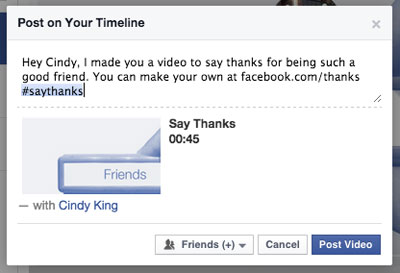 facebook thank you video post with a friend tag