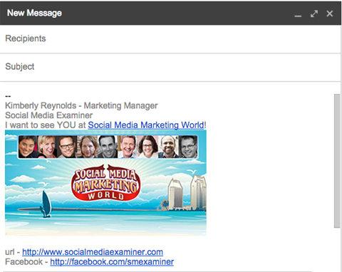 email signature with smmw15 promo