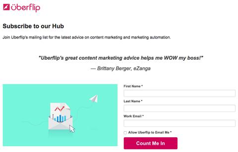 subscription form in a slideshare slide from uberflip