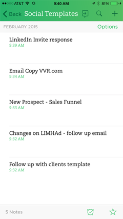 template responses in evernote