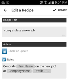 edit a recipe in ifttt