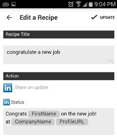 edit a recipe in ifttt