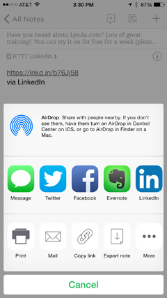 evernote and linkedin update destination in ifttt
