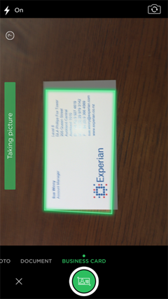 scan a business card in evernote