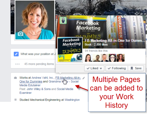 multiple page names in the about section preview