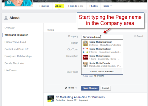 adding a facebook page to work history
